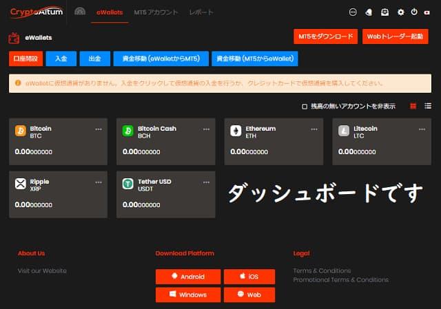 cryptoaltum口座開設手順(ダッシュボードからMT5口座を開設)