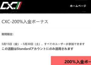 CXC Marketsの200%入金ボーナスキャンペーン