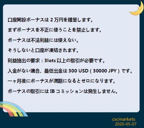 CXC Markets(シーエックスシーマーケット)のボーナス注意事項