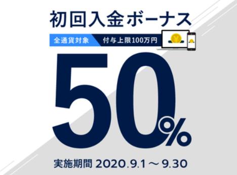FXGTの50%入金ボーナス